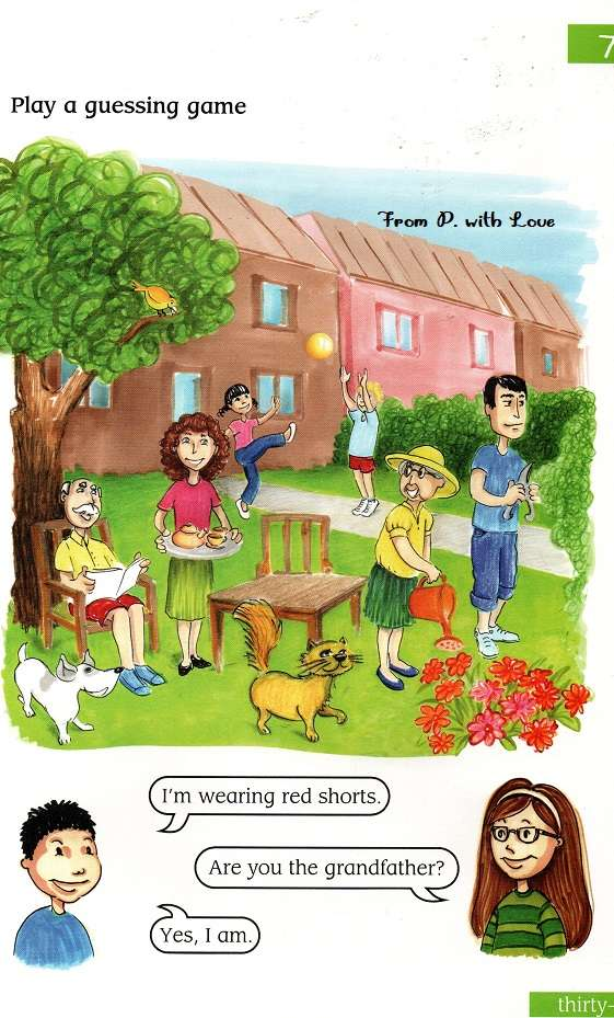 rodzina w ogrodzie rysunek