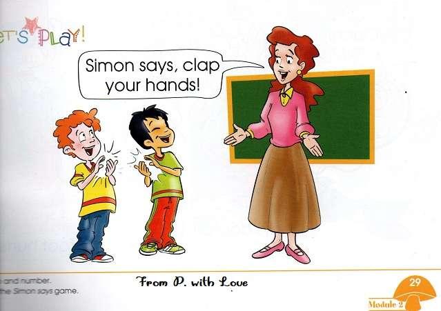 rysunek kobieta nauczycielka w różowej bluzce stoi przy tablicy dwóch uczniów chłopców